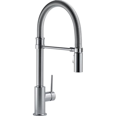 delta trinsic single handle pull sprayer kitchen faucet with spout in arctic