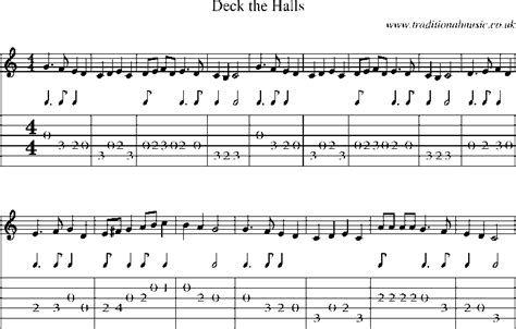 guitar tab and sheet for deck the halls