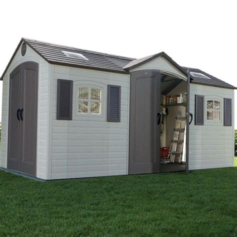 lifetime apex dual entry plastic shed 15x8 one garden
