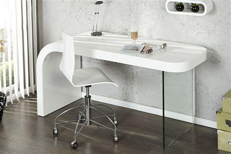 bureau design blanc laque et verre timmen
