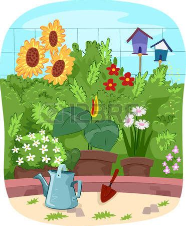 Garden Clipart Summer Garden  Pencil And In Color Garden