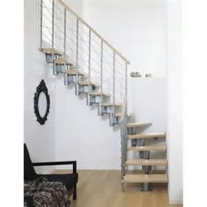 escalier modulaire structure m 233 tal marche bois leroy merlin