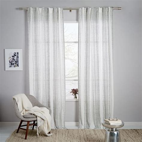 striped ikat curtain platinum west elm