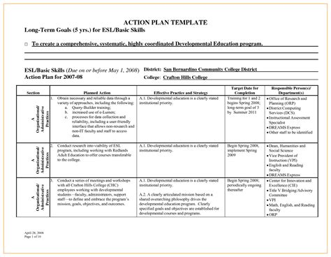 Business Action Plan Template Sample 4964616 Sample