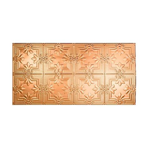 fasade traditional 3 2 ft x 4 ft glue up ceiling tile in polished copper g52 25 the home depot