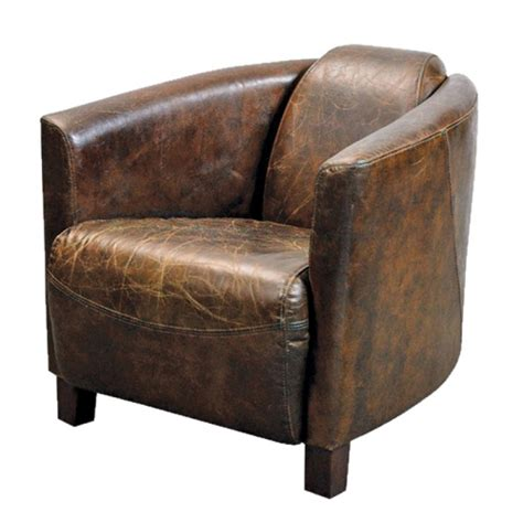 fauteuil club en cuir brun vieilli