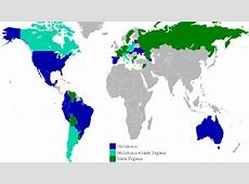 History A map of the countries that recognize the