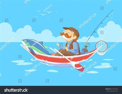 Cartoon Man In A Boat by Cartoon Man No Fishing Boat Vector Stock Vector 431653645