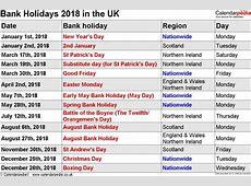 2018 Printable Calendars With Holidays Printable