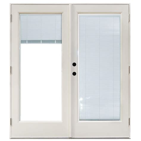 masterpiece 58 3 4 in x 79 1 4 in fiberglass white right outswing hinged patio door with