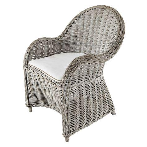 fauteuil en rotin blanc gris 233 maisons du monde