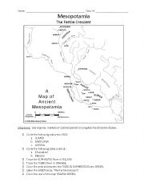 English Worksheets Mesopotamia Map Activity