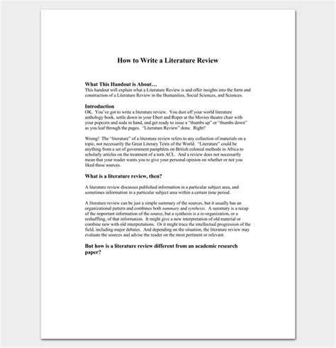 Literature Review Outline Template  20+ Formats, Examples