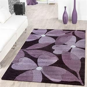 Teppich Läufer Lila : designer teppich floral kurzflor modern lila konturenschnitt moderne teppiche ~ Markanthonyermac.com Haus und Dekorationen