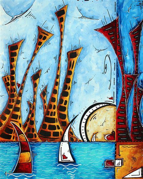 Large Sailboat Wall Decor by Nautical Coastal Original Contemporary Cityscape