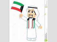 Man Holding Kuwait Flag Stock Vector Image 49997426