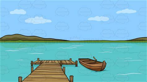 Cartoon Boat Dock by Lake Fishing Boat Clipart