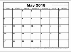 May 2018 Calendar Template 2018 calendar printable