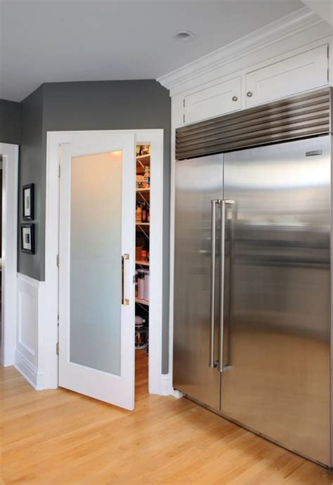 Free Standing Kitchen Cabinets Home Depot by Frosted Glass Pantry Door Contemporary Kitchen