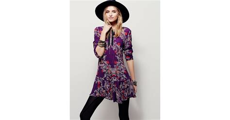 Free People Smooth Talker Floral Print Tunic In Purple