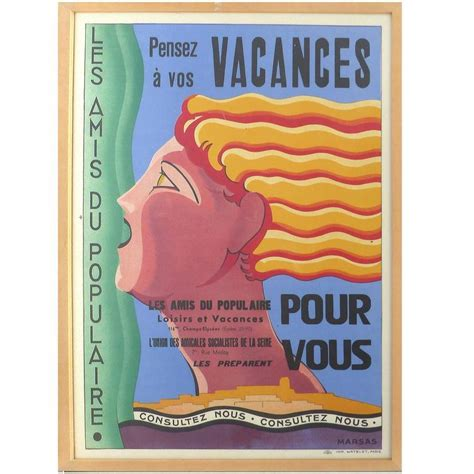 deco vacances poster by marsas for sale at 1stdibs