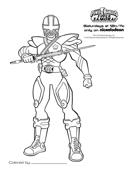 free power rangers samourai coloring pages