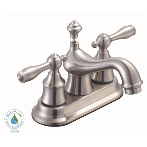 glacier bay estates 4 in centerset 2 handle low arc bathroom faucet with pop up assembly in