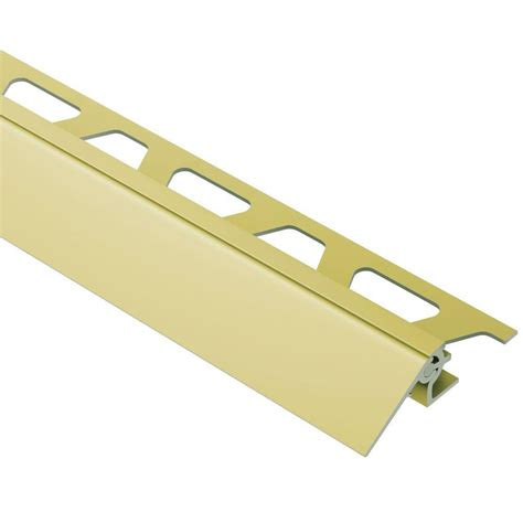 schluter reno v satin brass anodized aluminum 5 16 in x 8 ft 2 1 2 in metal reducer tile