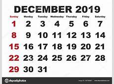 Mes de diciembre del calendario 2019 inglés Usa — Vector