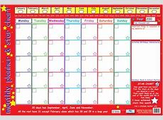 Monthly Planner and Star Chart, Children's Planner Poster