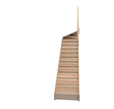 escalier quart tournant haut droit en h 234 tre avec contre marches sans re hauteur 272 cm