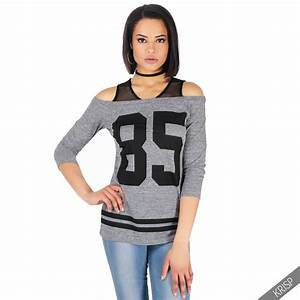 Womens Off Shoulder Long Baseball T-shirt Top Ladies ...