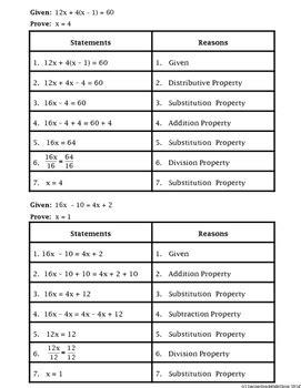 Geometry Algebraic Proof Worksheet Breadandhearth