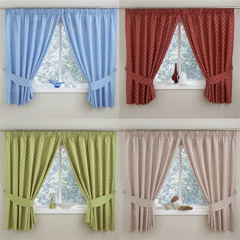 pair polka dot kitchen thermal curtains 3 quot top pencil pleat multi colours ebay