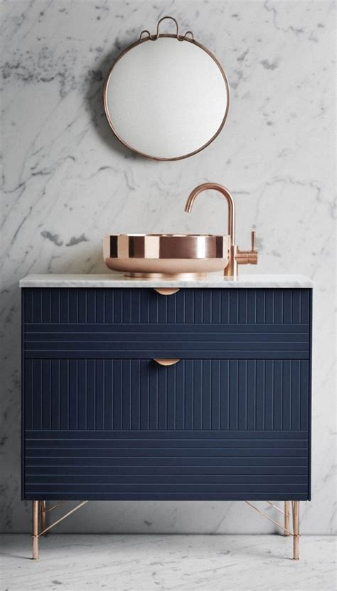 navy gold marble bath copper vanities and trends