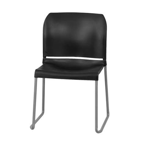 hercules series 880 lb capacity black back contoured stack chair with sled base rut 238a