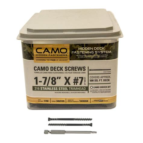 camo trimhead stainless steel deck screws 1 7 8 quot 1750 count