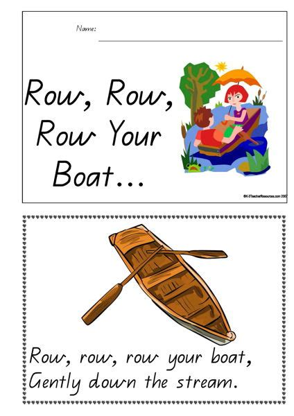 Row Your Boat Full Song by Printable Row Row Row Your Boat Concept Book K 3 Teacher