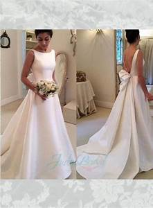 Simple but chic Ivory satin v shape low back bridal gown ...