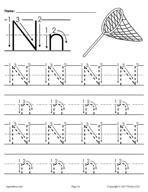 Free Printable Letter N Tracing Worksheet With Number And Arrow Guides Supplyme