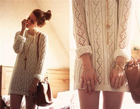 Cream, Long Sleeve Dress, Knitted Dress, Sweater Dress, White, Cute, Winter Sweater