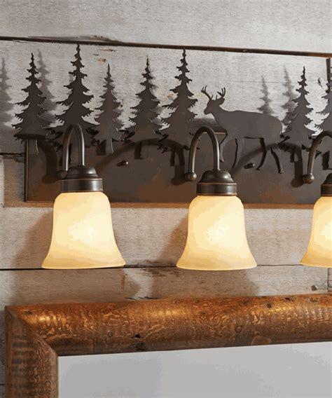 rustic vanity light fixtures cabin bathroom