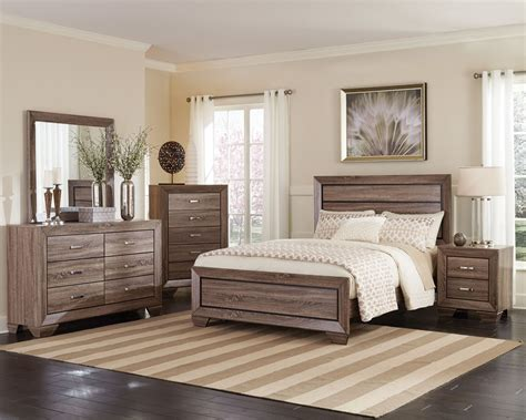 Kauffman Washed Taupe Panel Bedroom Set From Coaster