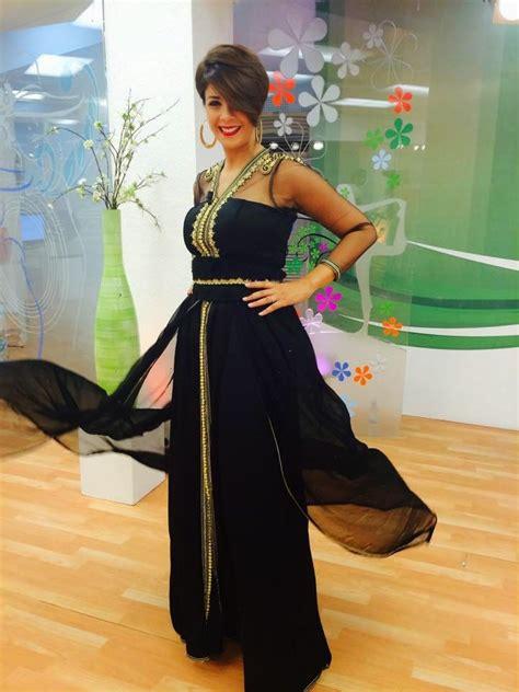 caftan marocain 2015 couleur noir style robe de soir 233 e en satin et mousseline avec des manches