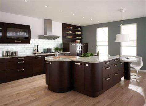 brown cabinets and light floors kitchen
