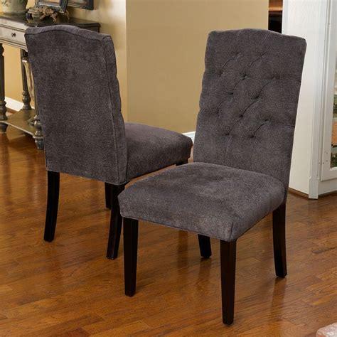 set of 6 gray linen upholstered parsons dining
