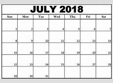Download July 2018 Printable Calendar Word