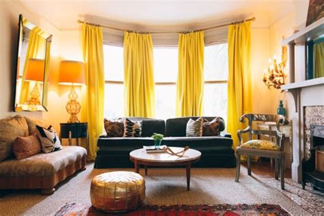 Living Room With Long, Dramatic Yellow Curtains And Dark Light Gray Curtains Fluorescent Grow Led Flood 8 Foot Fixture Track Lighting Ideas Blue Shoes Pendant Lights Black