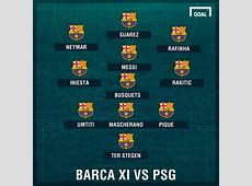 TEAM NEWS MSN start as Barcelona seek PSG comeback
