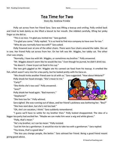 Tea Time For Two  Reading Comprehension Worksheet